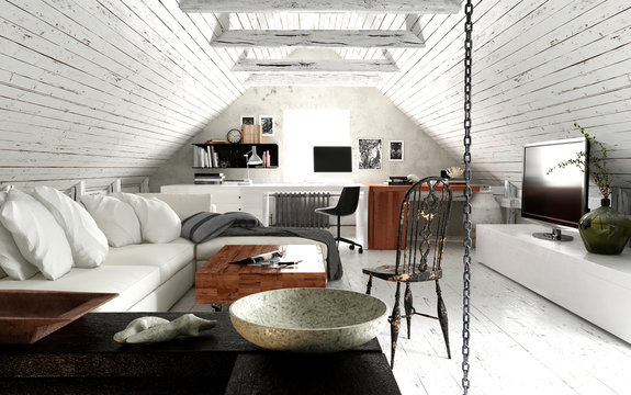 3d render of living room at roof