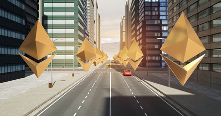 Ethereum Sign In The City - Digital Currency Related Aerial 3D City Flight