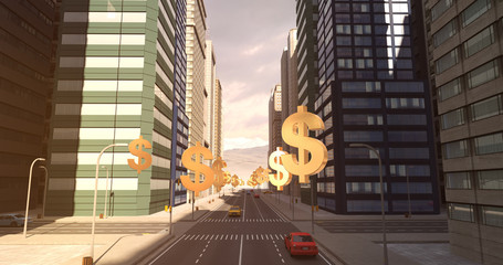 US Dollar Sign In The City - Business Related Aerial 3D City Flight To Sky