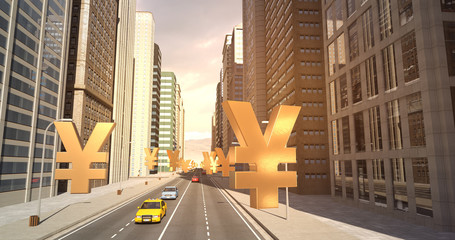 Japanese Yen Sign In The City - Business Related Aerial 3D City Flight To Sky