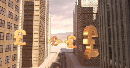 British Pound Sign In The City - Business Related Aerial 3D City Flight To Sky
