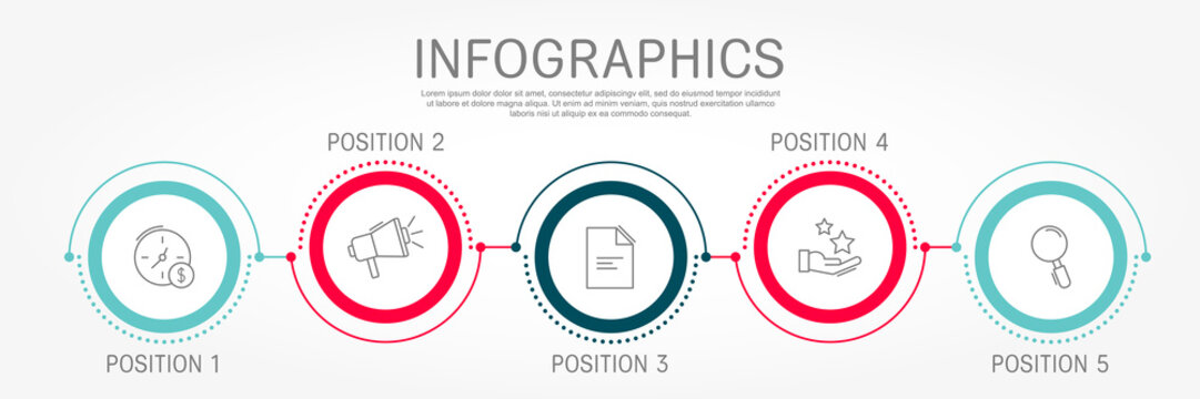 Modern and simple flat vector illustration. Infographic template with five circles, elements, sectors and percentages. Designed for business, presentations, web design, interface 5 step diagrams