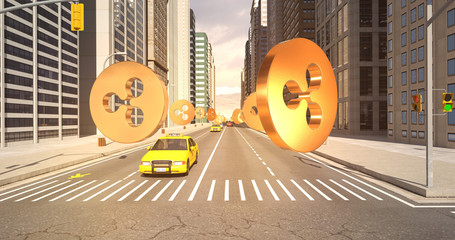 Ripple Sign In The City - Digital Currency Related Aerial 3D City Flight To Sky