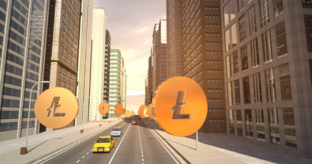 Litecoin Sign In The City - Digital Currency Related Aerial 3D City Flight To Sky