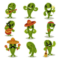 Flat vector set of funny green cacti in different actions. Cartoon characters of humanized succulent plants