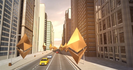 Ethereum Sign In The City - Digital Currency Related Aerial 3D City Flight To Sky