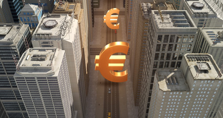 Euro Currency Sign In The City - Business Related Aerial 3D City Flight Over Skyscrapers