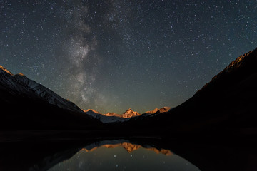 star milky way lake mountains reflection sky night