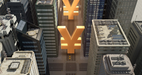 Japanese Yen Sign In The City - Business Related Aerial 3D City Flight Over Skyscrapers