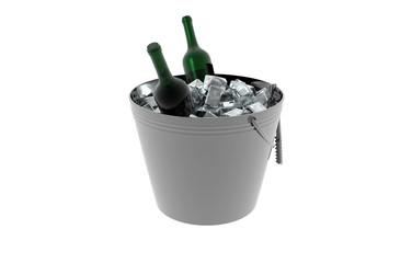 Sektkühler mit Eis und Sektflaschen