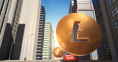 Litecoin Sign In The City - Digital Currency Related Aerial 3D City Street Flight
