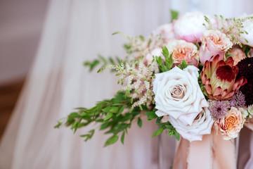 wedding bouquet with rose bush