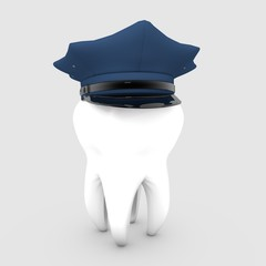 3D illustration of Tooth wearing a police hat