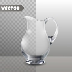Glass jug on white and transparent background isolated vector illustration