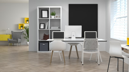 co working environments interior decoration Model Home office Meeting rooms have computers and notebooks.Online Business 3d rendering Work at home