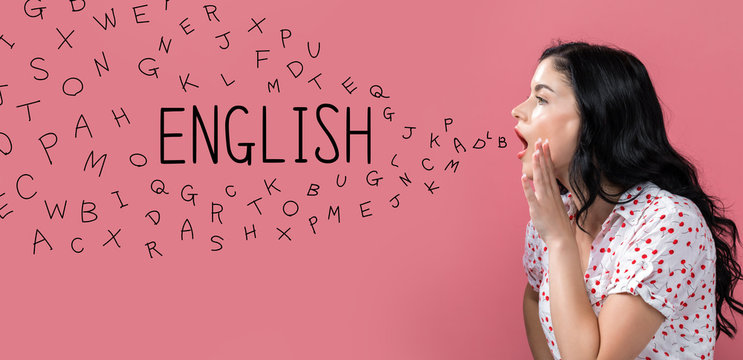 English with alphabet letters with young woman speaking on a pink background