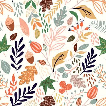 Autumn seamless pattern with decorative seasonal elements