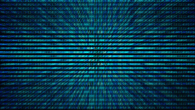 01 or binary code number pattern texture on the computer in digital data technology concept on black background. Hacker screen display. 3d illustration