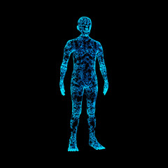 Blue human body isolated on black background. Artificial intelligence high-tech in digital computer technology concept. 3d illustration.