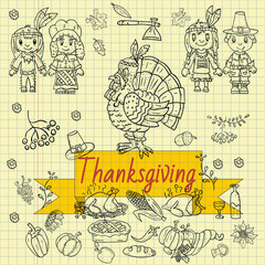 illustration_3_in childrens drawing style thanksgiving day, Doodle for design and decoration national event