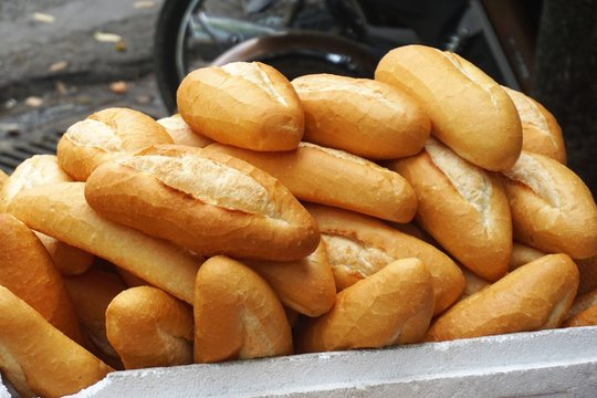 Banh mi bread baguettes for sale in Hanoi Vietnam