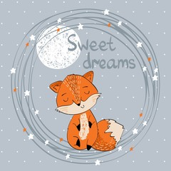 Vector illustration with funny fox and moon. Sweet dreams.