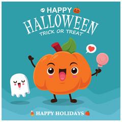 Vintage Halloween poster design with vector pumpkin & ghost character.