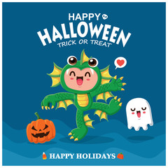 Vintage Halloween poster design with vector sea creature character.