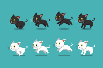 Vector cartoon black cat and white cat running step for design.