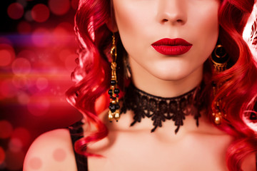 portrait of a luxurious lady with professional make-up in retro style, hair styling, accessories, color solution, sexy image, fashion image
