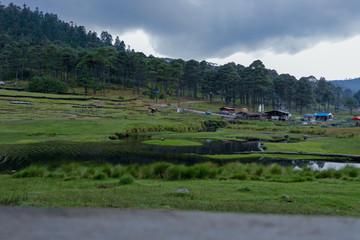 Cabañas humeantes al pie de un río en un bosque verde Wall mural