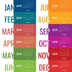 Modern vector of 2019 new year calendar sunday first.