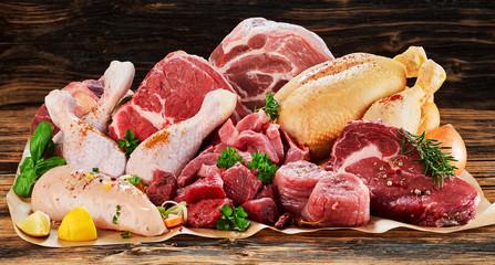Raw meat assortment, beef, chicken, turkey Wall mural