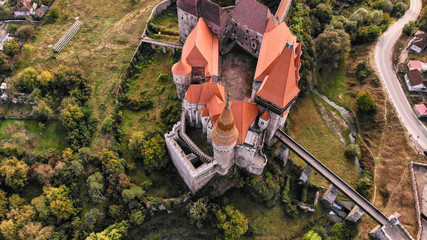 Aerial view of medieval Corvin Castle or Corvinilor or Hunyad Castle in Hunedoara, town in beautiful Transylvania, Romania.
