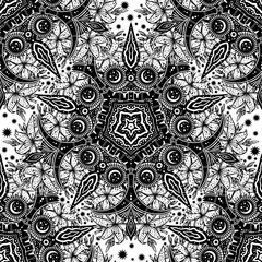 Sacred Geometry seamless pattern. Dark magic night sky crescent moon and wild lily ornament.