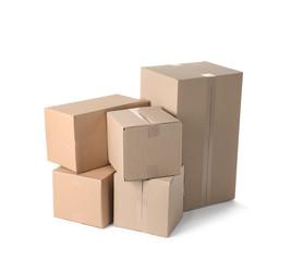 Cardboard boxes on white background. Mockup for design
