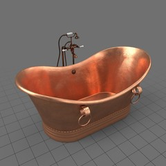 Empty copper bathtub