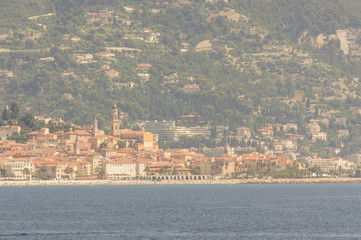 Panoramic view of the gulf of Menton and Cap Martin in a summer day