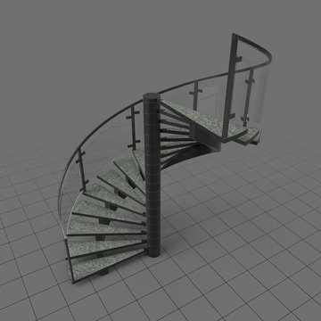Spiral industrial staircase