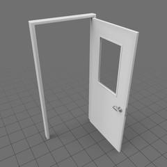 Wide open door with window
