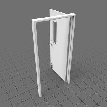 Open door with narrow window panel