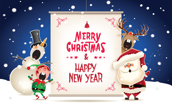Santa Claus,Snowman,Reindeer and Elf with textual signboard.Vector illustration for Christmas greeting.