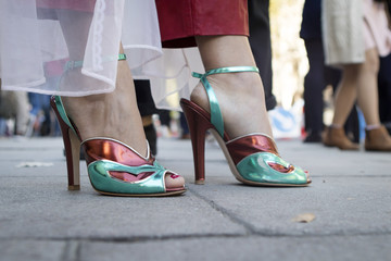 Green shoes on high heels
