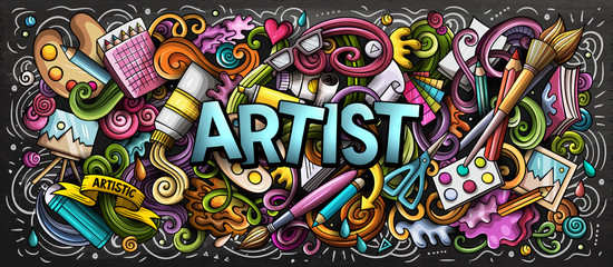 Artist supply color illustration. Visual arts doodles. Painting and drawing art background.