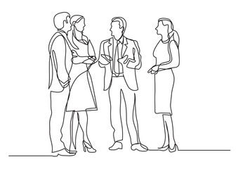 continuous line drawing of business professionals standing meeting