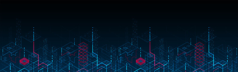 Wall Mural - Technology background. Binary computer code.  Vector illustration.