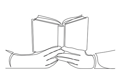 continuous line drawing of hands holding open book