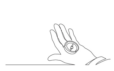 continuous line drawing of hand holding compass