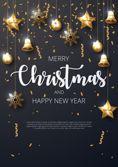 Merry Christmas background with shining gold ornaments. Made of snowflakes, gift, candy, bells, star, christmas ball. Vector illustration