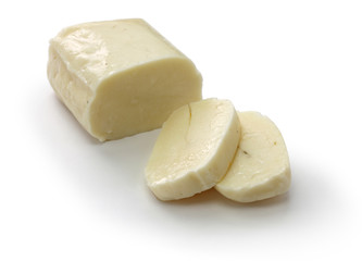 halloumi, Cyprus squeaky cheese isolated on white background